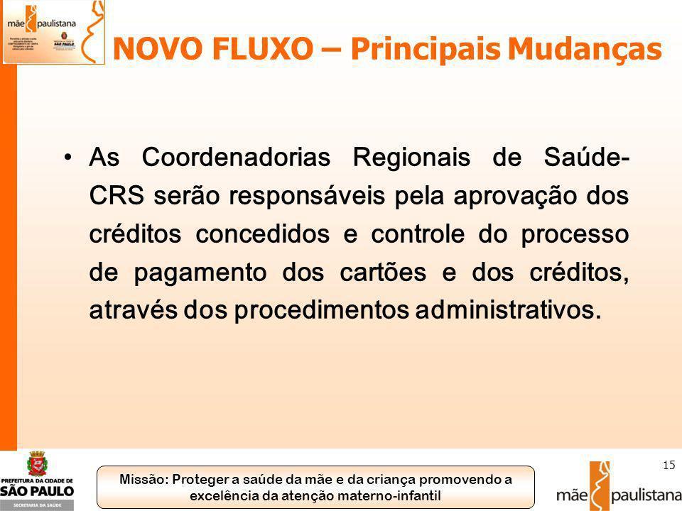 Missão: Proteger a saúde da mãe e da criança promovendo a excelência da atenção materno-infantil 15 NOVO FLUXO – Principais Mudanças As Coordenadorias