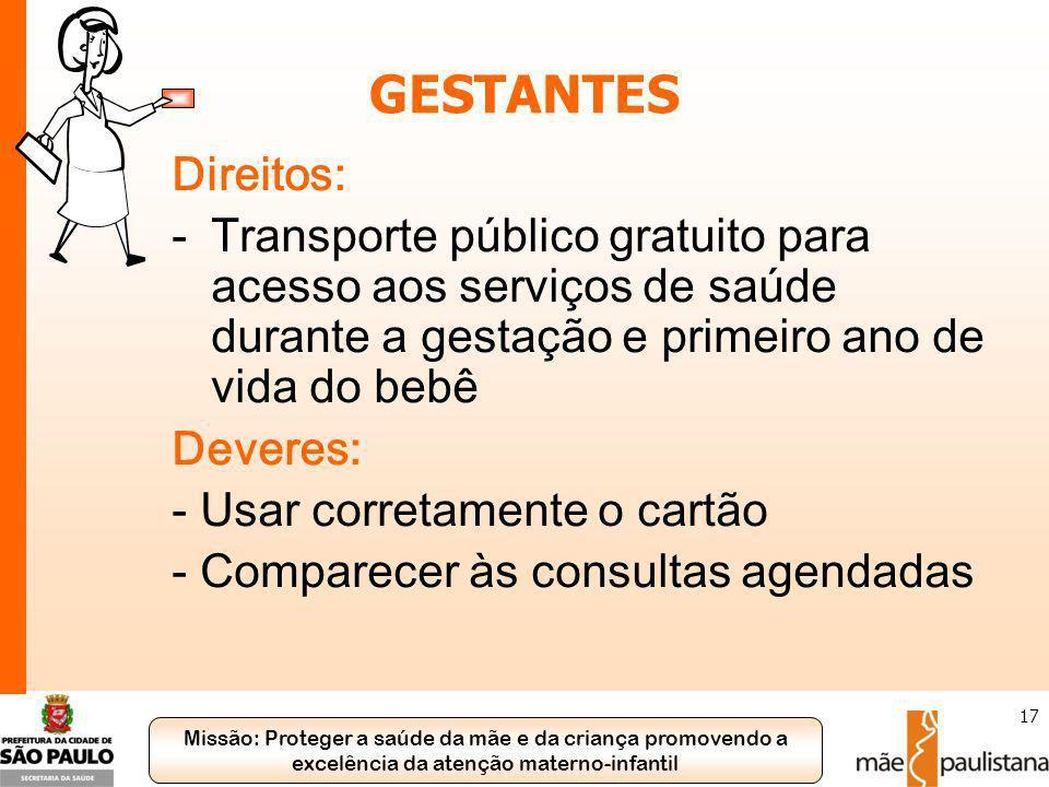 Missão: Proteger a saúde da mãe e da criança promovendo a excelência da atenção materno-infantil 17 GESTANTES Direitos: -Transporte público gratuito p