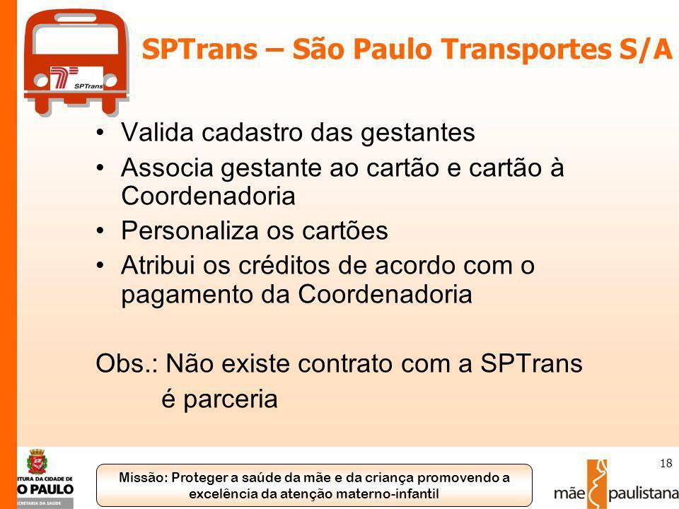 Missão: Proteger a saúde da mãe e da criança promovendo a excelência da atenção materno-infantil 18 SPTrans – São Paulo Transportes S/A Valida cadastr