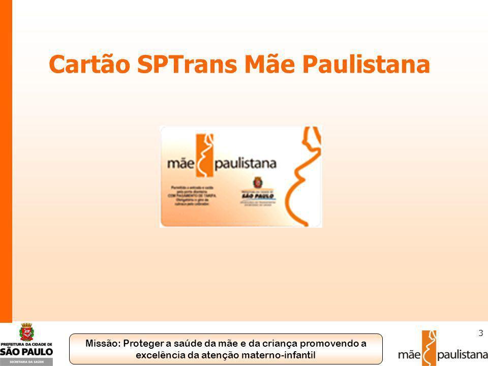Missão: Proteger a saúde da mãe e da criança promovendo a excelência da atenção materno-infantil 4 Cartão SPTrans Mãe Paulistana O que é.
