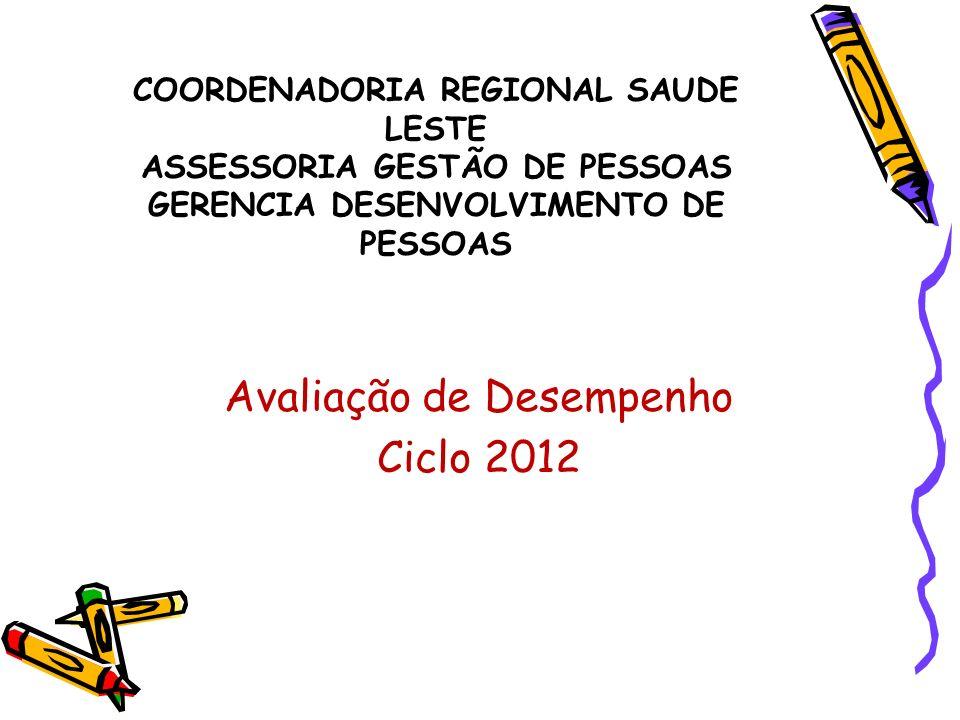 COORDENADORIA REGIONAL SAUDE LESTE ASSESSORIA GESTÃO DE PESSOAS GERENCIA DESENVOLVIMENTO DE PESSOAS Avaliação de Desempenho Ciclo 2012