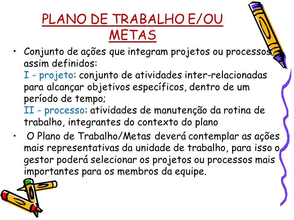 PLANO DE TRABALHO E/OU METAS Conjunto de ações que integram projetos ou processos, assim definidos: I - projeto: conjunto de atividades inter-relacion