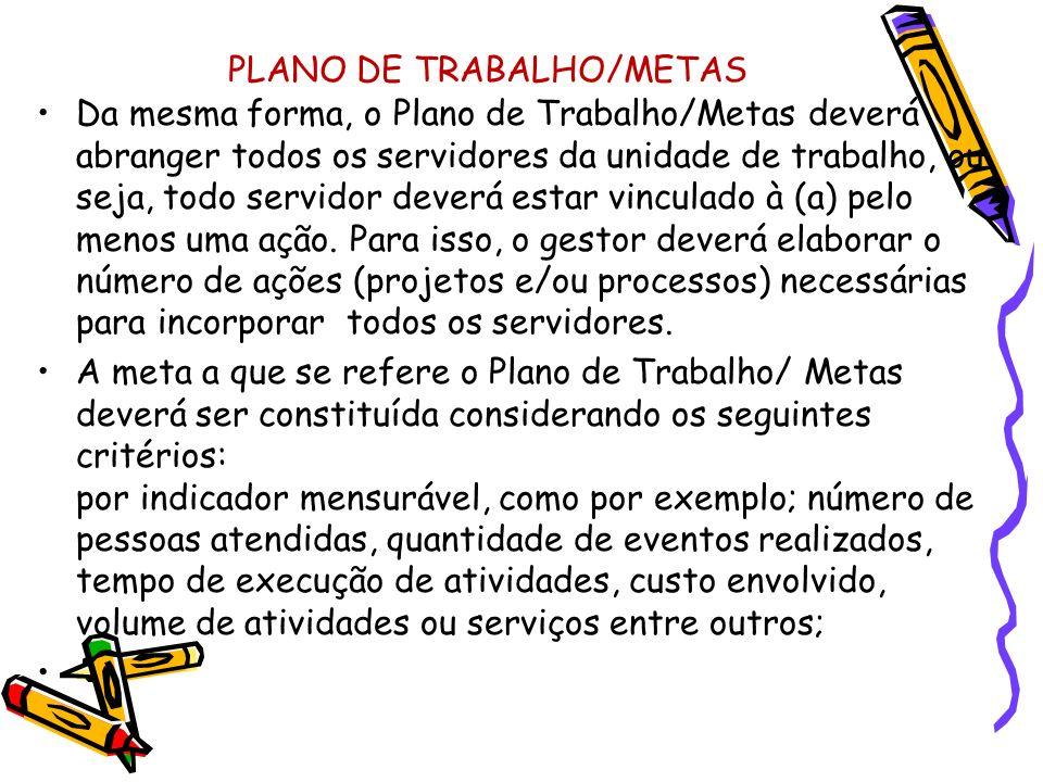 PLANO DE TRABALHO/METAS Da mesma forma, o Plano de Trabalho/Metas deverá abranger todos os servidores da unidade de trabalho, ou seja, todo servidor d