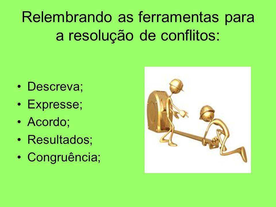 Relembrando as ferramentas para a resolução de conflitos: Descreva; Expresse; Acordo; Resultados; Congruência;