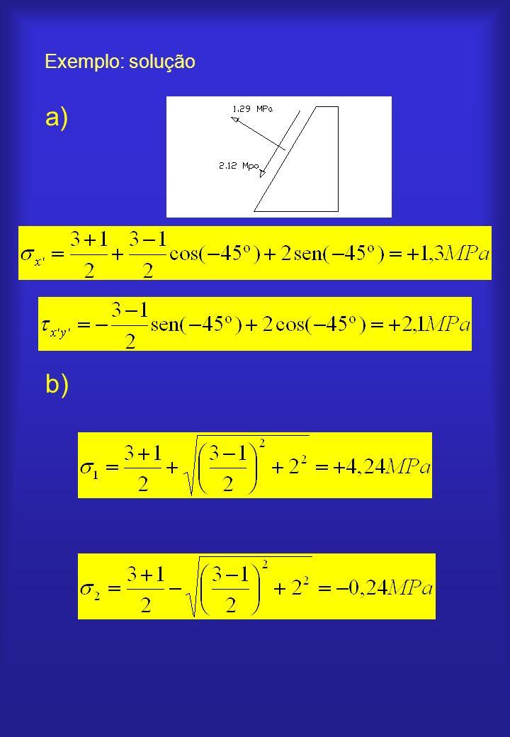 Exemplo: solução a) b)