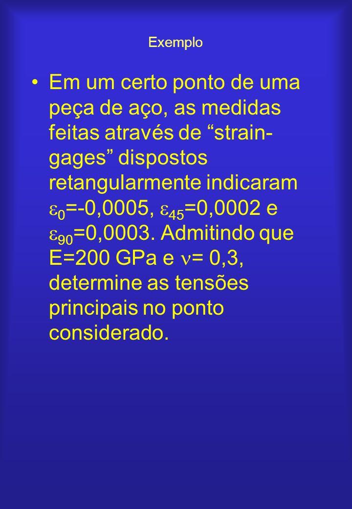 Exemplo Em um certo ponto de uma peça de aço, as medidas feitas através de strain- gages dispostos retangularmente indicaram 0 =-0,0005, 45 =0,0002 e