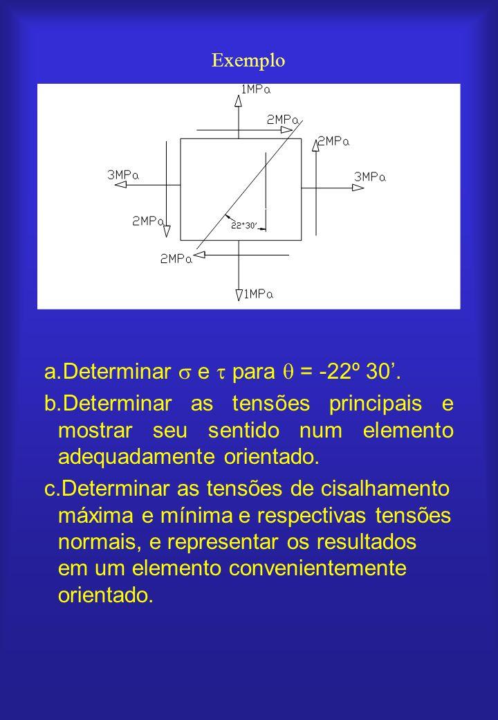 Exemplo a.Determinar e para = -22º 30. b.Determinar as tensões principais e mostrar seu sentido num elemento adequadamente orientado. c.Determinar as