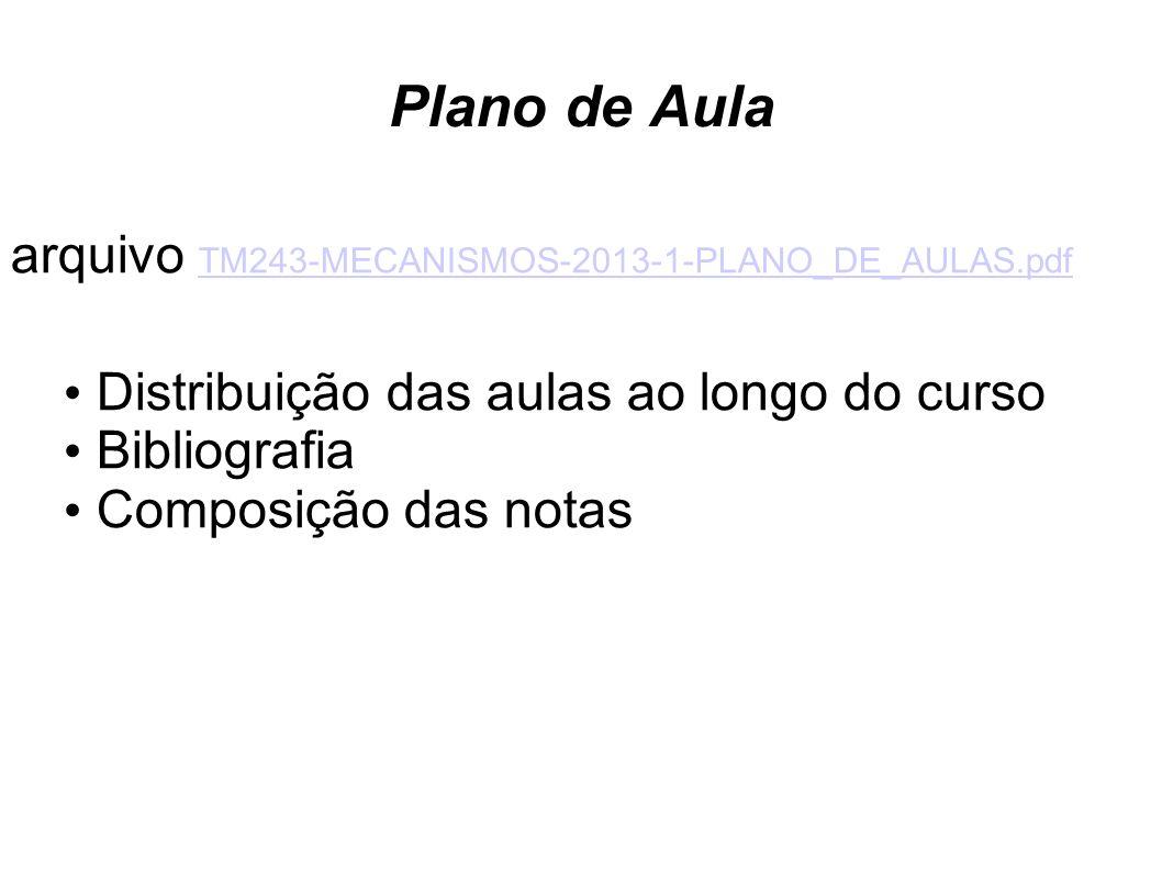 Plano de Aula arquivo TM243-MECANISMOS-2013-1-PLANO_DE_AULAS.pdf TM243-MECANISMOS-2013-1-PLANO_DE_AULAS.pdf Distribuição das aulas ao longo do curso B