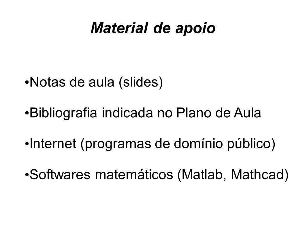 Material de apoio Notas de aula (slides) Bibliografia indicada no Plano de Aula Internet (programas de domínio público) Softwares matemáticos (Matlab,