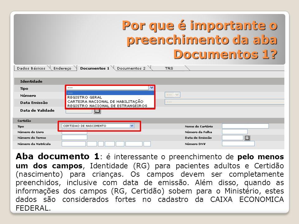 Por que é importante o preenchimento da aba Documentos 1? Aba documento 1 : é interessante o preenchimento de pelo menos um dos campos, Identidade (RG