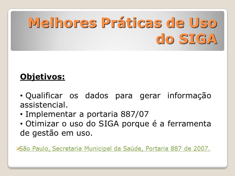 São Paulo, Secretaria Municipal da Saúde, Portaria 887 de 2007. Objetivos: Qualificar os dados para gerar informação assistencial. Implementar a porta