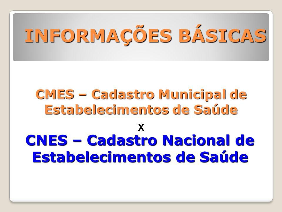 CMES – Cadastro Municipal de Estabelecimentos de Saúde CNES – Cadastro Nacional de Estabelecimentos de Saúde INFORMAÇÕES BÁSICAS X