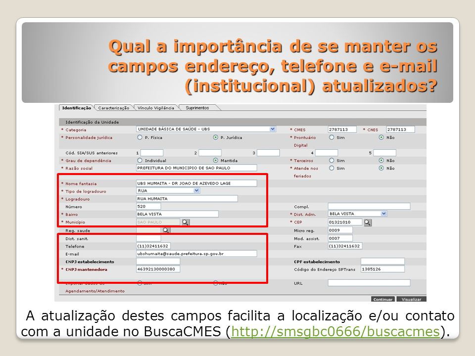 Qual a importância de se manter os campos endereço, telefone e e-mail (institucional) atualizados? A atualização destes campos facilita a localização
