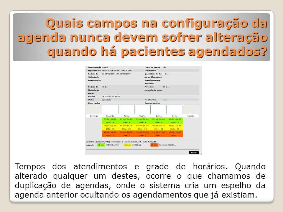 Quais campos na configuração da agenda nunca devem sofrer alteração quando há pacientes agendados? Quais campos na configuração da agenda nunca devem