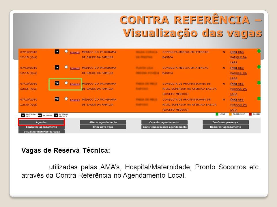 Vagas de Reserva Técnica: utilizadas pelas AMAs, Hospital/Maternidade, Pronto Socorros etc. através da Contra Referência no Agendamento Local. CONTRA