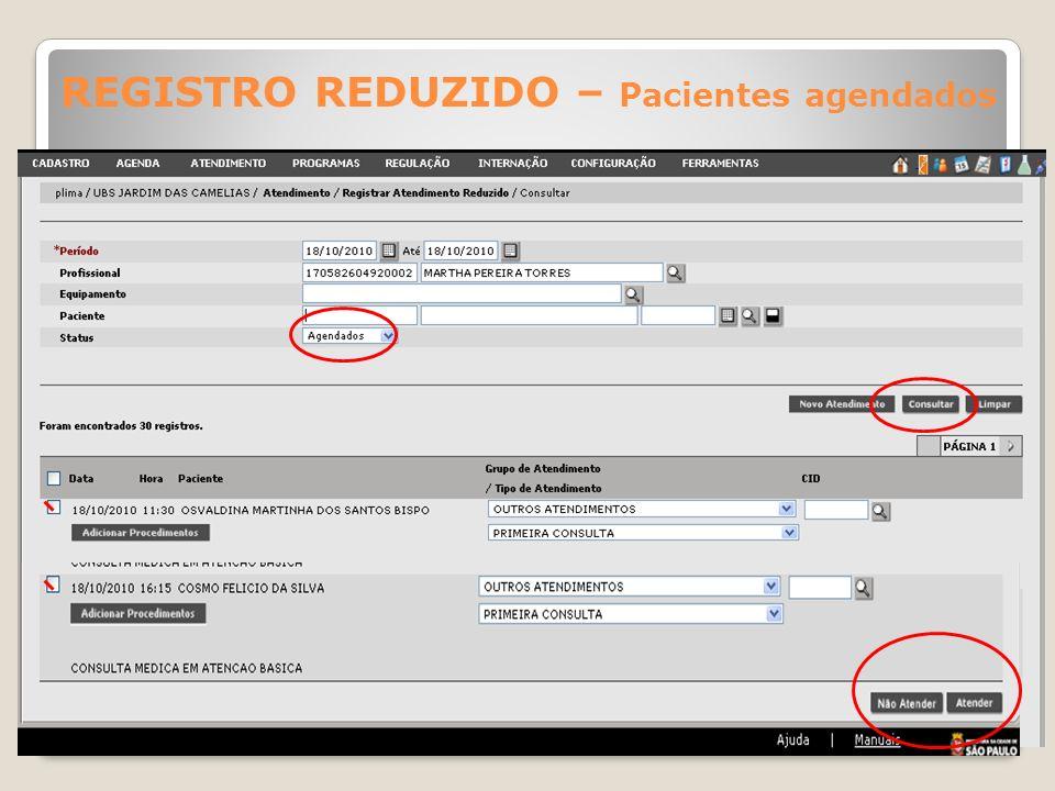 Selecionar os pacientes que foram atendidos pelo Profissional e clicar no botão Atender; aos pacientes que não compareceram à consulta, clicar no botã