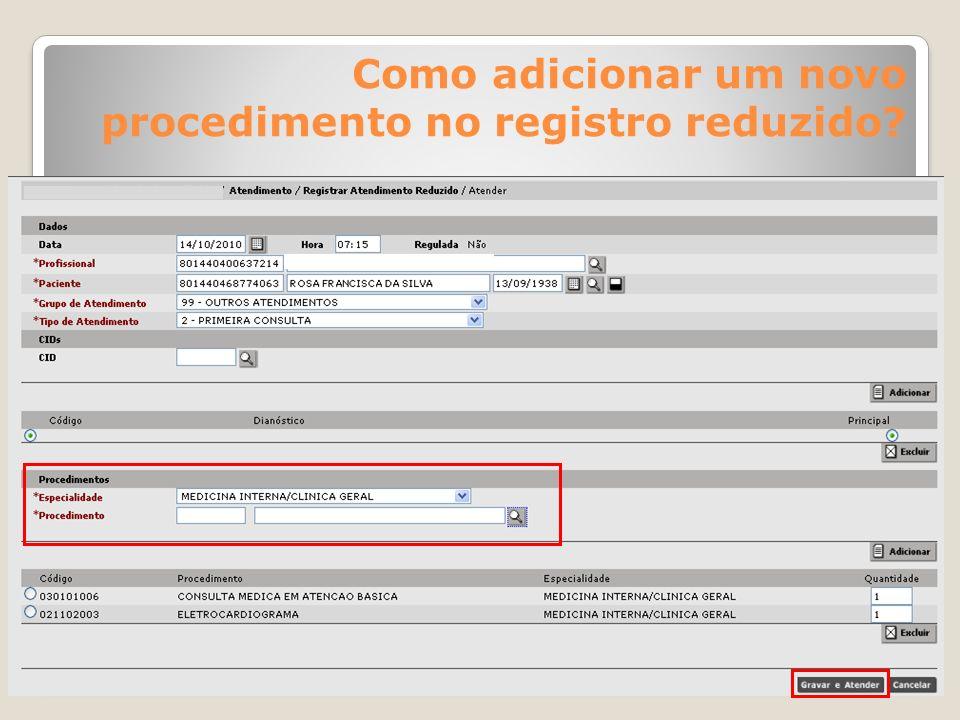 Como adicionar um novo procedimento no registro reduzido?