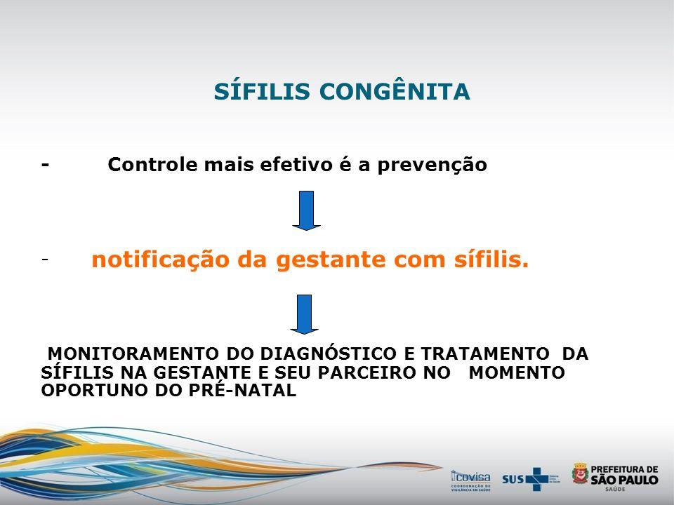 SÍFILIS CONGÊNITA Um desafio contemporâneo GESTANTE Pré-natal Atendimento adequado Registro na carteira da gestante Maternidade Avaliação sequencial d