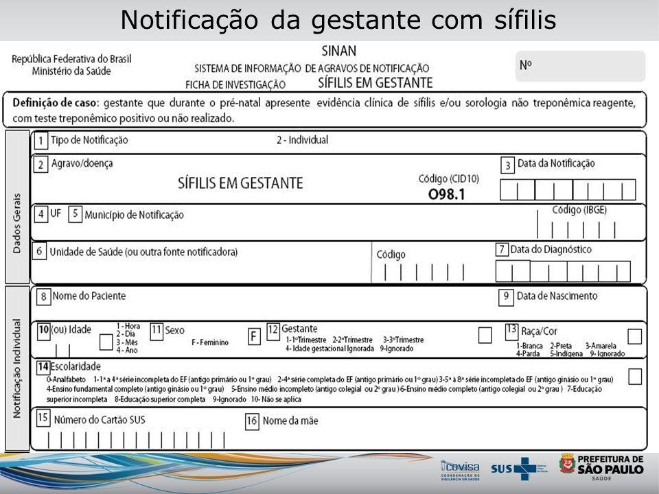 Ficha de Sífilis em Gestante 098.1 Sinan NET-versão 4.0