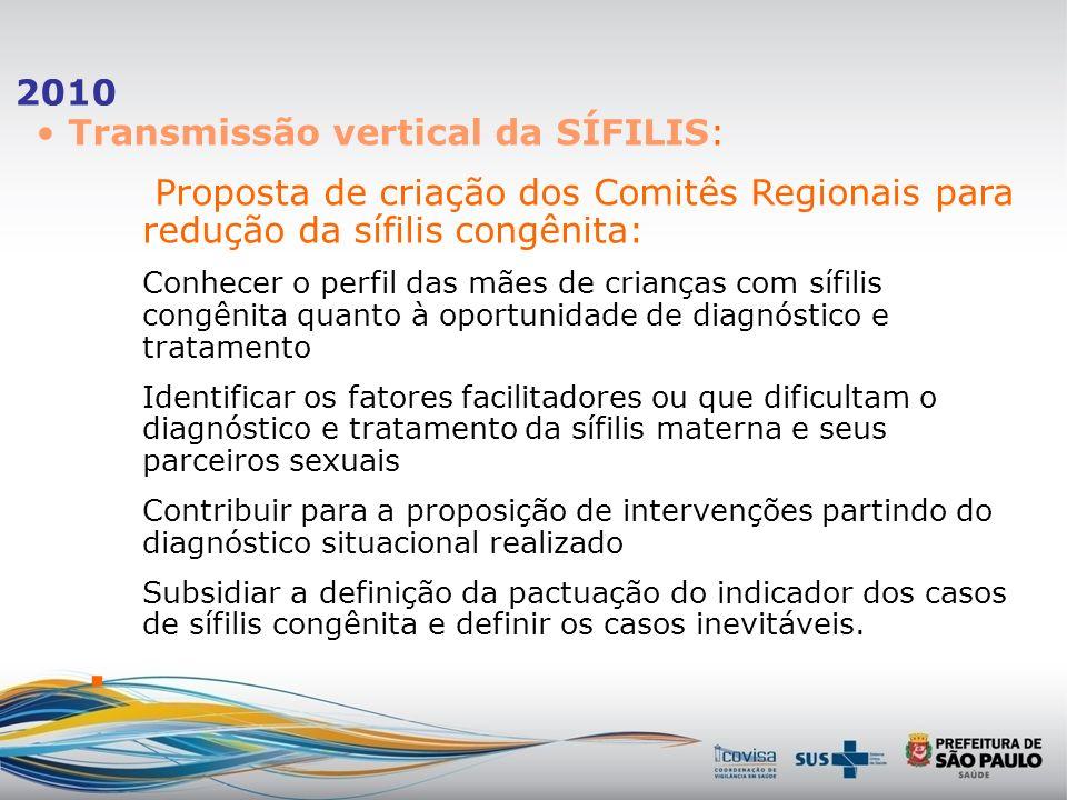 2010 Transmissão vertical da SÍFILIS: - Padronização da Investigação Evitabilidade Ficha de Acompanhamento das Gestantes com Sífilis. Ficha de Acompan