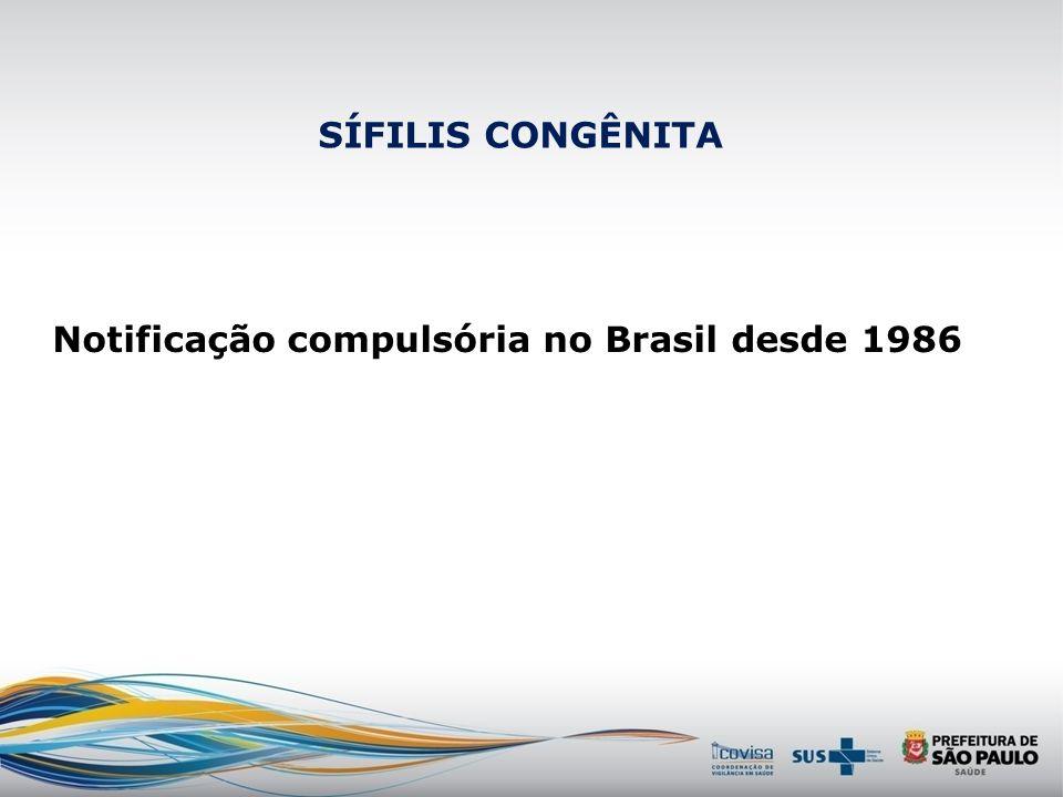 SÍFILIS CONGÊNITA Notificação compulsória no Brasil desde 1986