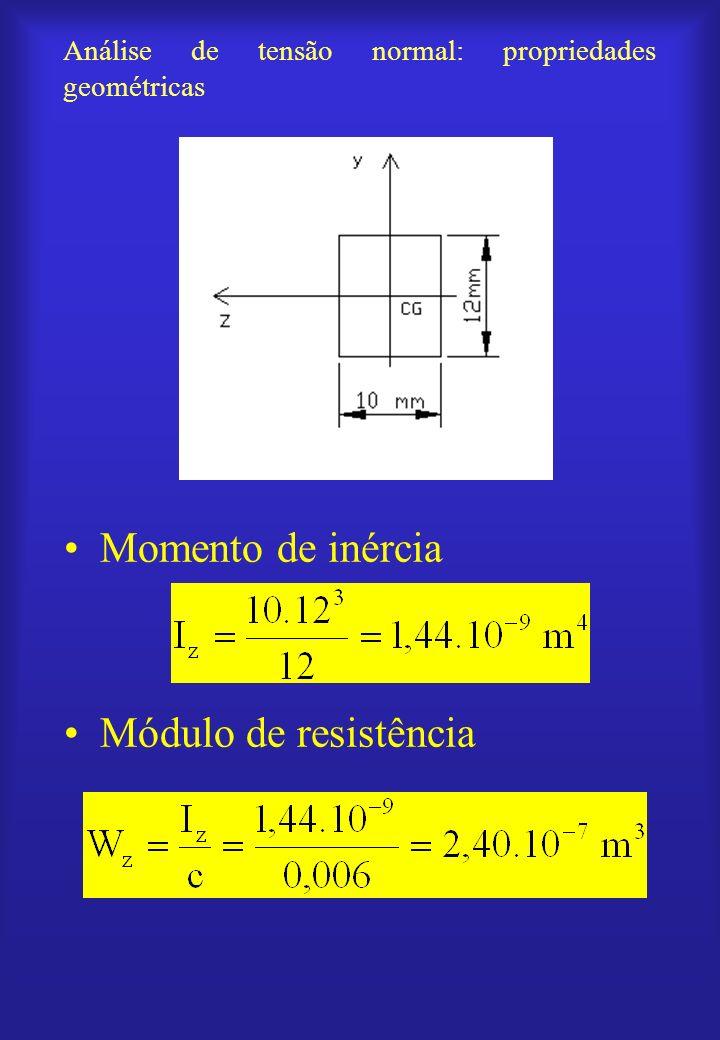 Análise de tensão normal: propriedades geométricas Momento de inércia Módulo de resistência