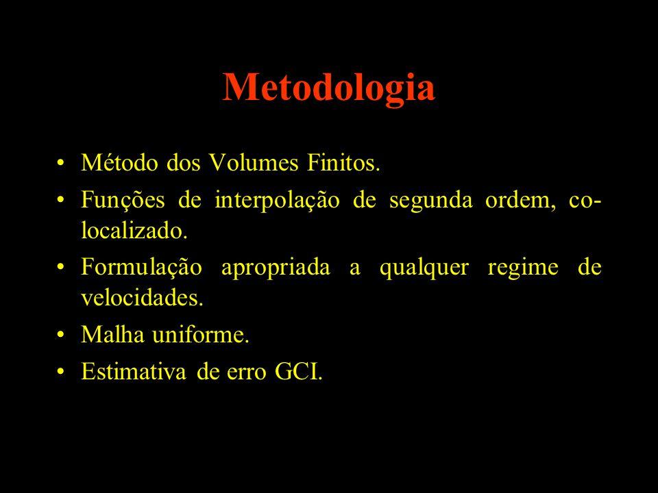 Metodologia Método dos Volumes Finitos. Funções de interpolação de segunda ordem, co- localizado. Formulação apropriada a qualquer regime de velocidad