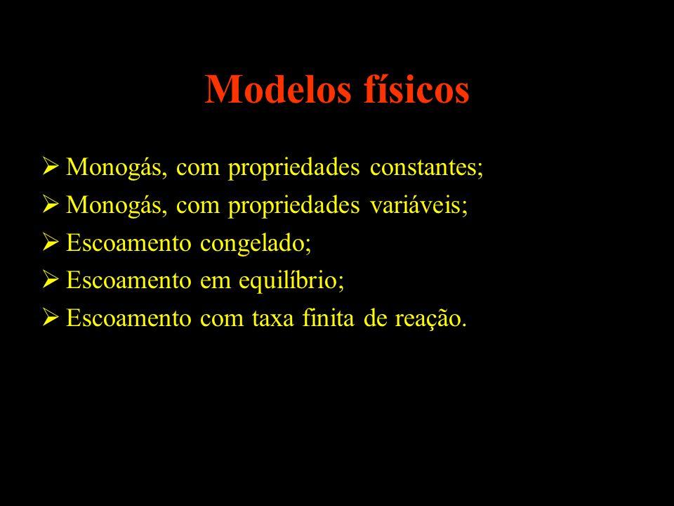 Modelos físicos Monogás, com propriedades constantes; Monogás, com propriedades variáveis; Escoamento congelado; Escoamento em equilíbrio; Escoamento