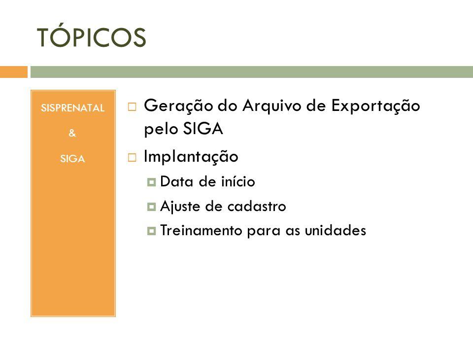 TÓPICOS SISPRENATAL & SIGA Geração do Arquivo de Exportação pelo SIGA Implantação Data de início Ajuste de cadastro Treinamento para as unidades