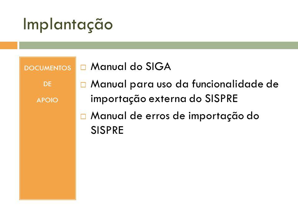 Implantação DOCUMENTOS DE APOIO Manual do SIGA Manual para uso da funcionalidade de importação externa do SISPRE Manual de erros de importação do SISP