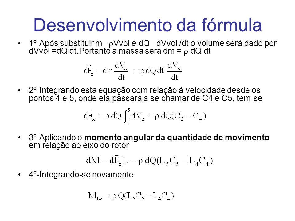 Desenvolvimento da fórmula 1º-Após substituir m= Vvol e dQ= dVvol /dt o volume será dado por dVvol =dQ dt.Portanto a massa será dm = dQ dt 2º-Integran