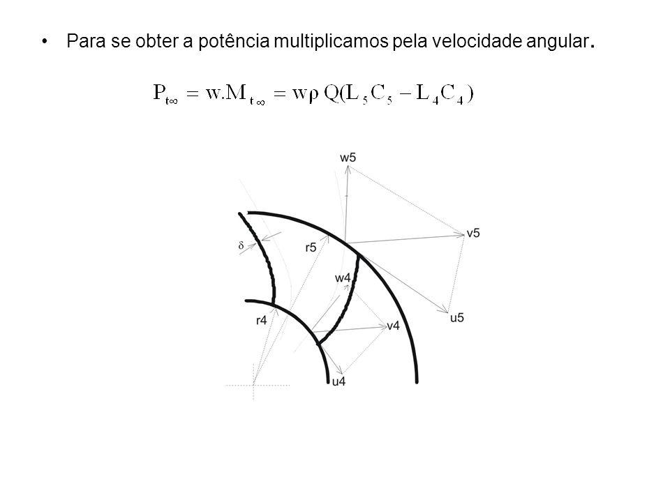 Para se obter a potência multiplicamos pela velocidade angular.