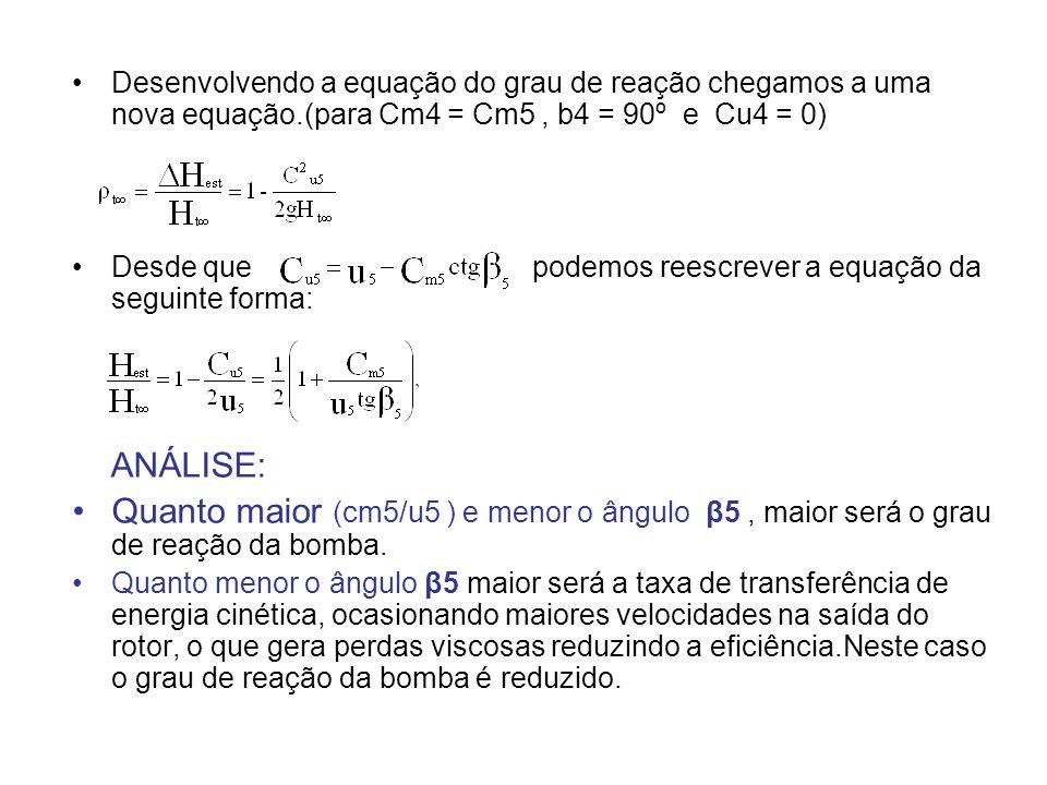 Desenvolvendo a equação do grau de reação chegamos a uma nova equação.(para Cm4 = Cm5, b4 = 90º e Cu4 = 0) Desde que podemos reescrever a equação da s