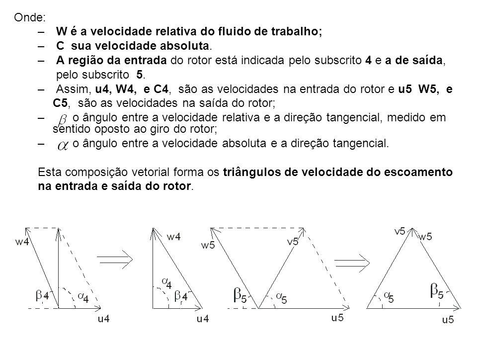 Onde: – W é a velocidade relativa do fluido de trabalho; – C sua velocidade absoluta. – A região da entrada do rotor está indicada pelo subscrito 4 e