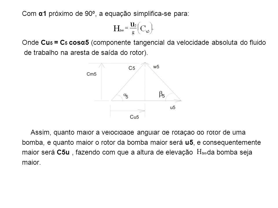 Com α1 próximo de 90º, a equação simplifica-se para: Onde Cu 5 = C 5 cosα5 (componente tangencial da velocidade absoluta do fluido de trabalho na ares