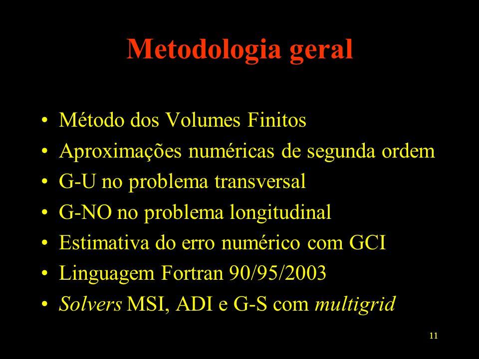 11 Metodologia geral Método dos Volumes Finitos Aproximações numéricas de segunda ordem G-U no problema transversal G-NO no problema longitudinal Esti