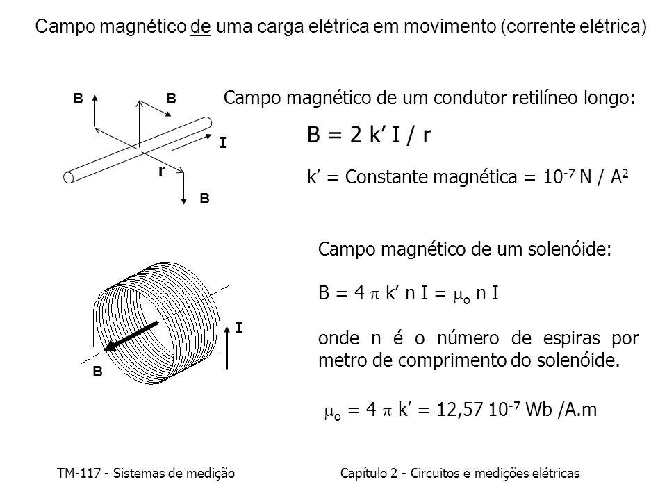 TM-117 - Sistemas de mediçãoCapítulo 2 - Circuitos e medições elétricas Campo magnético de uma carga elétrica em movimento (corrente elétrica) Campo magnético de um condutor retilíneo longo: B = 2 k I / r k = Constante magnética = 10 -7 N / A 2 I B r BB Campo magnético de um solenóide: B = 4 k n I = o n I onde n é o número de espiras por metro de comprimento do solenóide.