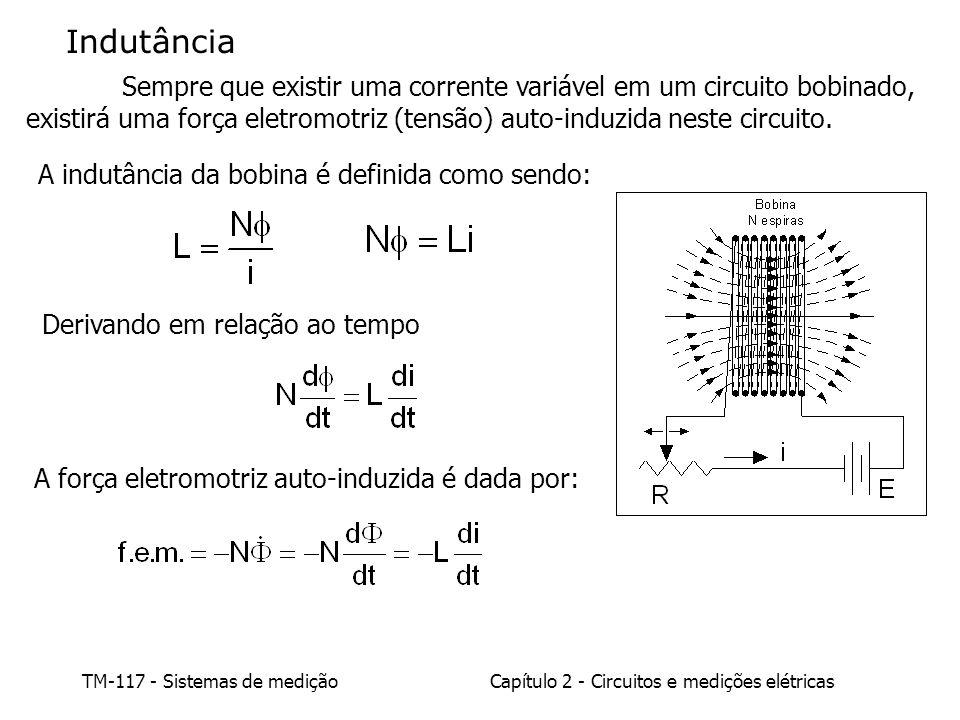 TM-117 - Sistemas de mediçãoCapítulo 2 - Circuitos e medições elétricas Indutância Sempre que existir uma corrente variável em um circuito bobinado, existirá uma força eletromotriz (tensão) auto-induzida neste circuito.