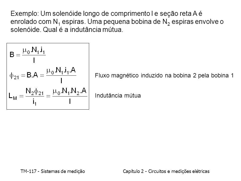 TM-117 - Sistemas de mediçãoCapítulo 2 - Circuitos e medições elétricas Exemplo: Um solenóide longo de comprimento l e seção reta A é enrolado com N 1 espiras.