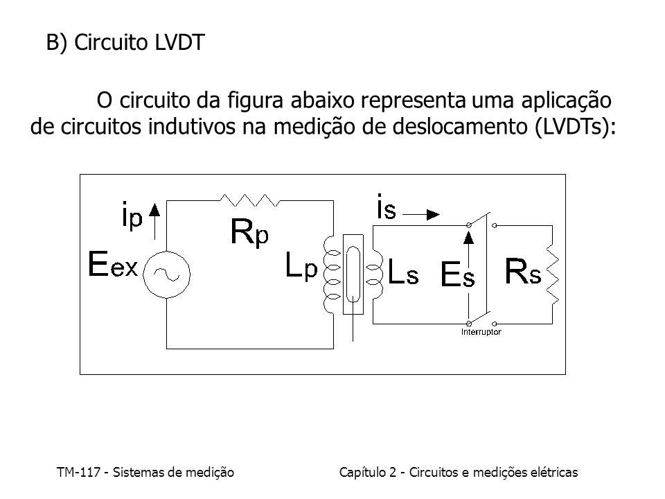 TM-117 - Sistemas de mediçãoCapítulo 2 - Circuitos e medições elétricas B) Circuito LVDT O circuito da figura abaixo representa uma aplicação de circuitos indutivos na medição de deslocamento (LVDTs):