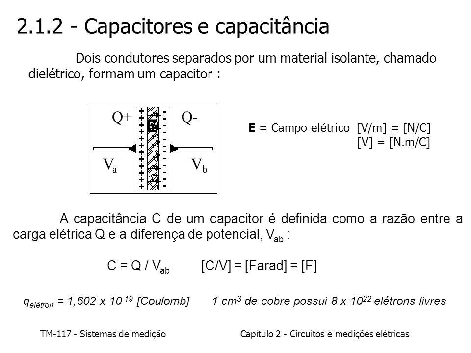 TM-117 - Sistemas de mediçãoCapítulo 2 - Circuitos e medições elétricas E (volts) V/K (volts) A resposta do instrumento (dividido pela sensibilidade K), a uma entrada E = 5 + 0,01 sen(2.60 t), ou seja, uma tensão da fonte constante de 5 V acrescida de um ruído em 60 Hz de amplitude 0,01, é mostrada na figura abaixo: Resposta de circuito com capacitor
