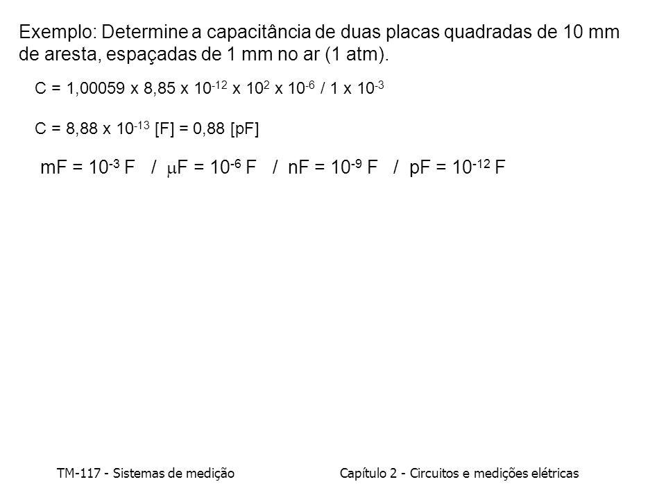 TM-117 - Sistemas de mediçãoCapítulo 2 - Circuitos e medições elétricas 2.1.3 - Campo magnético, indutores e indutância Um campo magnético é representado por linhas de indução, cuja direção em cada ponto é a do vetor indução magnética: 1 Tesla = 10 4 GaussT = Tesla (SI)G = Gauss (CGS) B = Vetor indução magnética = Fluxo magnético (escalar) = B.dA N S dAdA [B] = Tesla = N/m.A = N.s/C.m [ ] = Weber = N.m/A B