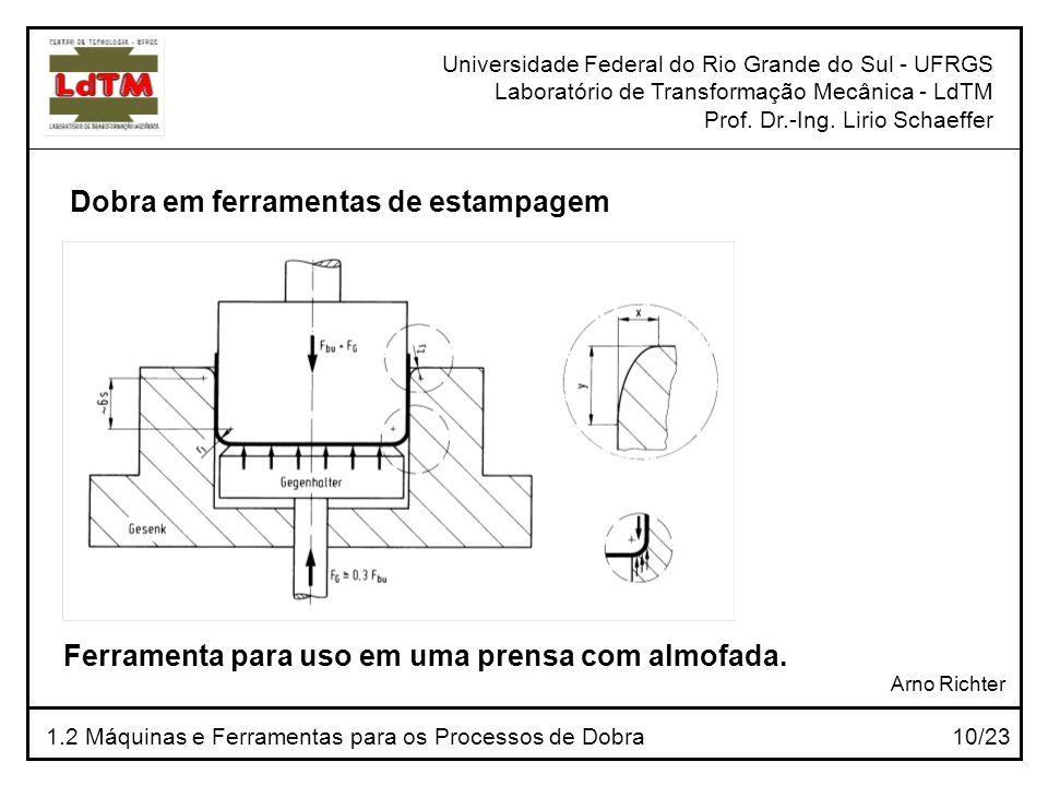 Universidade Federal do Rio Grande do Sul - UFRGS Laboratório de Transformação Mecânica - LdTM Prof. Dr.-Ing. Lirio Schaeffer 1.2 Máquinas e Ferrament