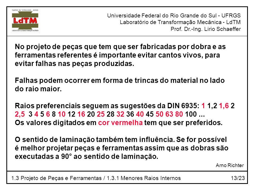 Universidade Federal do Rio Grande do Sul - UFRGS Laboratório de Transformação Mecânica - LdTM Prof. Dr.-Ing. Lirio Schaeffer 1.3 Projeto de Peças e F