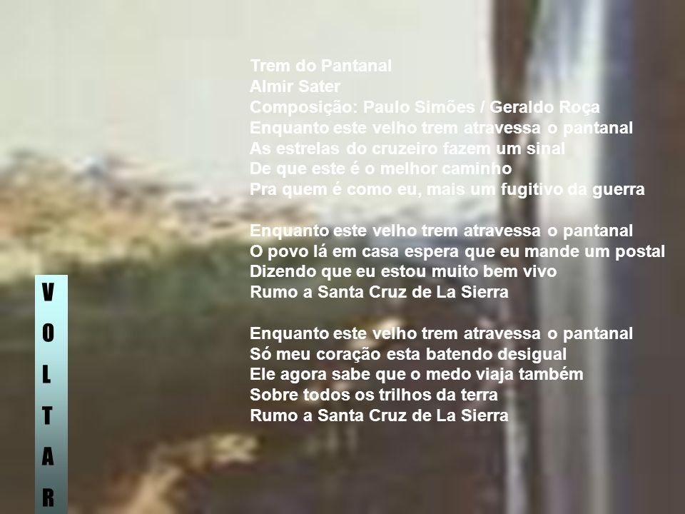 Trem do Pantanal Almir Sater Composição: Paulo Simões / Geraldo Roça Enquanto este velho trem atravessa o pantanal As estrelas do cruzeiro fazem um si