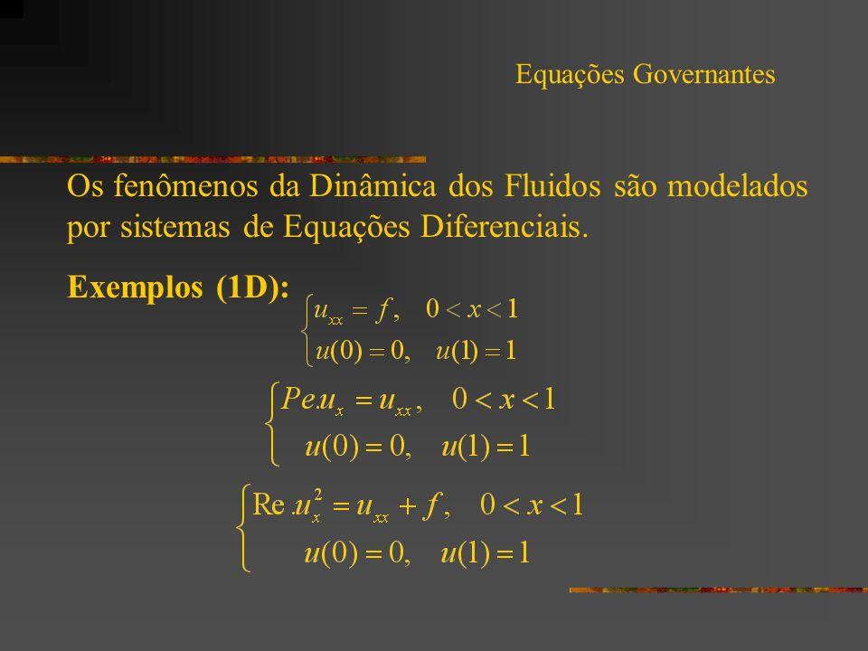 Equações Governantes Os fenômenos da Dinâmica dos Fluidos são modelados por sistemas de Equações Diferenciais. Exemplos (1D):