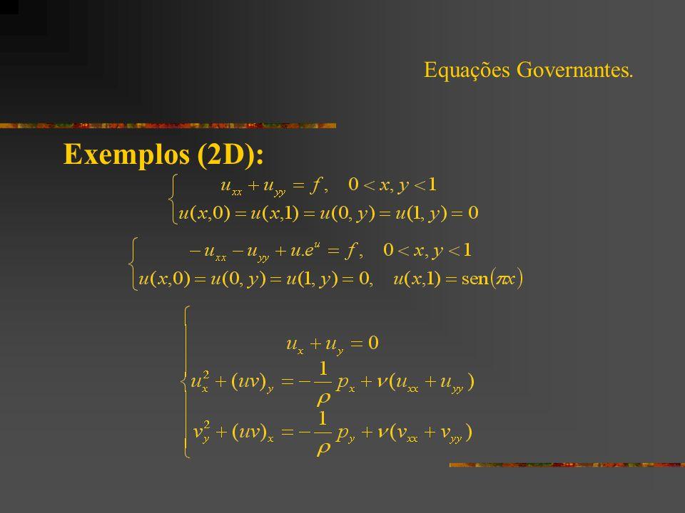 Equações Governantes. Exemplos (2D):