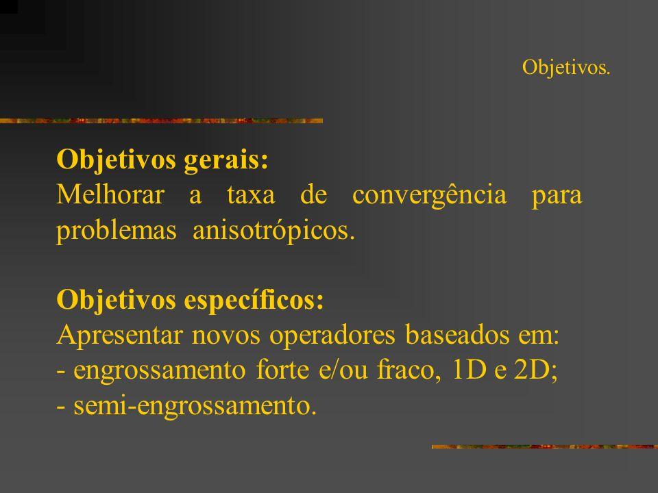 Objetivos. Objetivos gerais: Melhorar a taxa de convergência para problemas anisotrópicos. Objetivos específicos: Apresentar novos operadores baseados