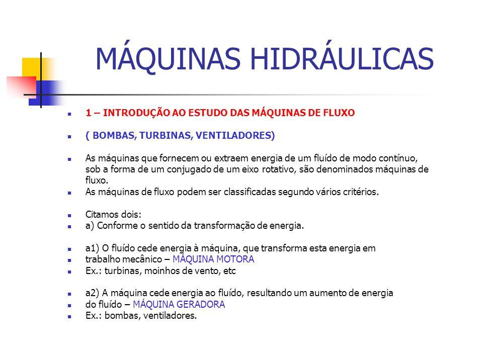 MÁQUINAS HIDRÁULICAS 1 – INTRODUÇÃO AO ESTUDO DAS MÁQUINAS DE FLUXO ( BOMBAS, TURBINAS, VENTILADORES) As máquinas que fornecem ou extraem energia de u