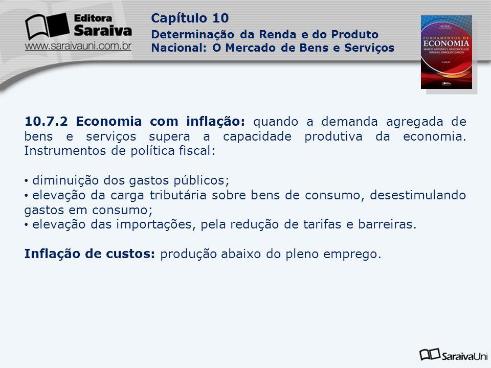 Capítulo 10 Determinação da Renda e do Produto Nacional: O Mercado de Bens e Serviços 10.7.2 Economia com inflação: quando a demanda agregada de bens e serviços supera a capacidade produtiva da economia.